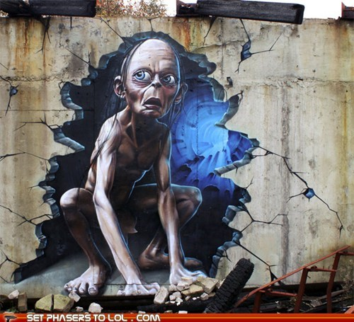 3-D,gollum,graffiti,Lord of the Rings,Street Art