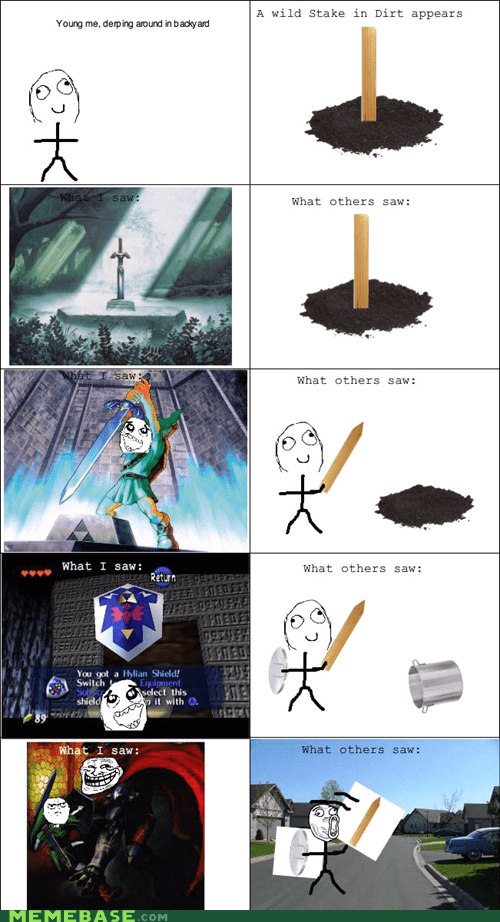 childhood,pretend,Rage Comics,zelda