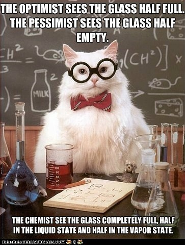 chemistry cat glass half full liquid memecats Memes science states vapor