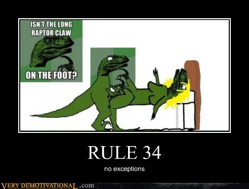 Ruler 34 meme explaining the foot claw problem with the velociraptor in a way that makes sense for Rule 34 too