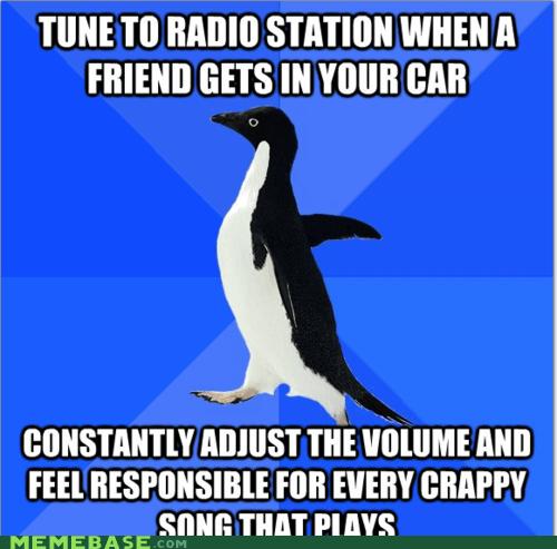 car friend justin bieber radio socially awkward penguin song volume