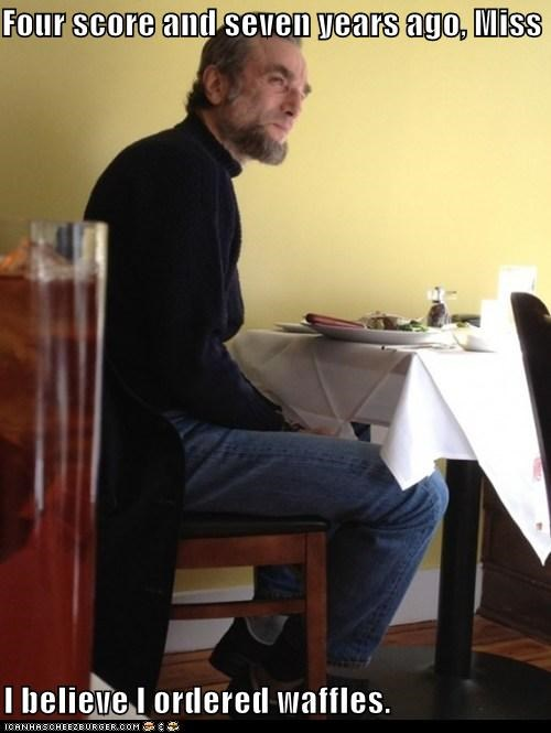 abraham lincoln daniel day-lewis food four score Hall of Fame restaurants waffles waiting - 5503554816
