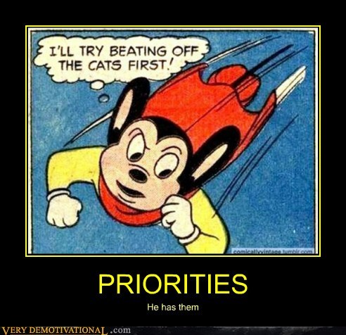 Cats,hilarious,mighty mouse,priorities