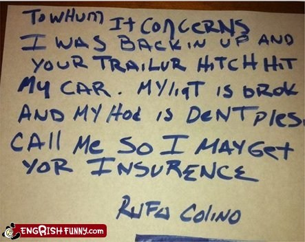 car accident insurance information left a note misspelling