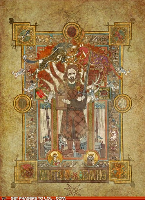 art,celtic,Eddard Stark,manuscript,poster,Winter Is Coming
