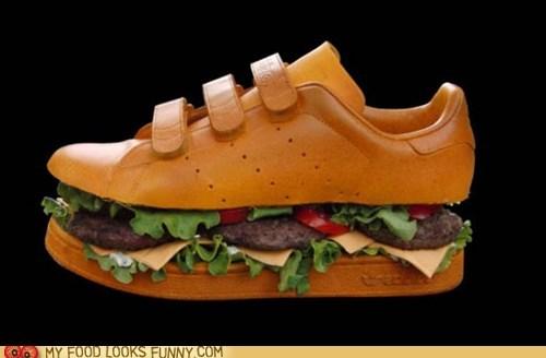 art burger sculpture shoe sneaker