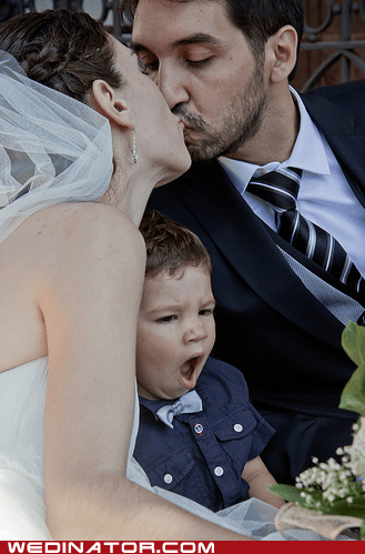 bride children funny wedding photos groom kids KISS yawn