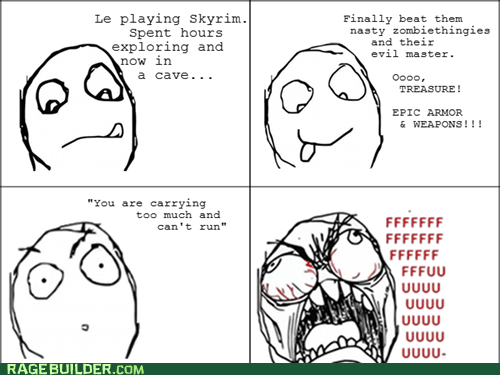 Rage Comics Skyrim video games weight