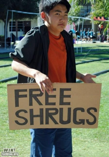 free stuff g rated hugs meh shrug sign win - 5505197568