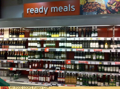 booze grocery store meal sign wine