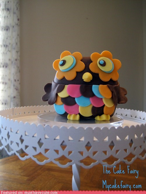 cake topper colorful epicute fondant Owl - 5505471232