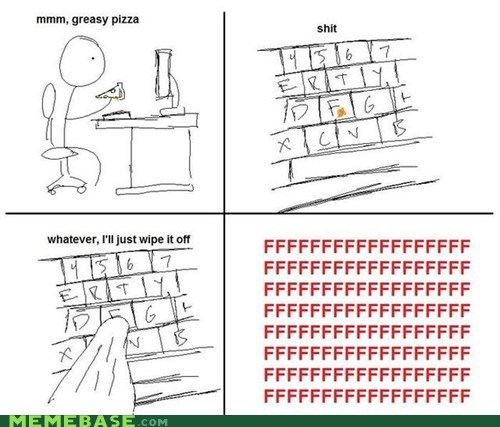 fu guy,keyboard,pizza,Rage Comics