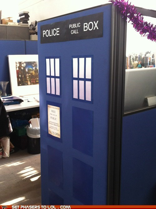 cubicle,doctor who,fun,tardis,time,work