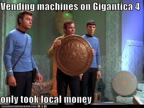 DeForest Kelley,huge,Leonard Nimoy,McCoy,money,Shatnerday,Spock,Star Trek,vending machines,William Shatner