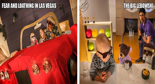famous movie scene recreating with kids and parents
