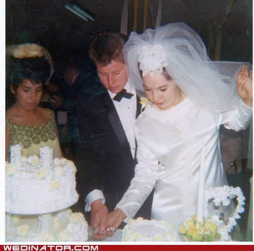 1960s,bride,bridesmaid,cake cutting,funny wedding photos,groom,retro,vintage