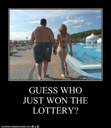 bikini,fat guy,hot chick,lottery,obese,pool-demotivator,thong