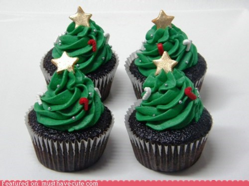 chocolate,christmas,cupcakes,epicute,frosting,star,tree