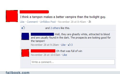 Blood tampon twilight witty reply - 5508036864