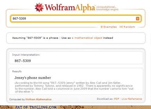 jenny,song lyrics,tommy tutone,wolfram alpha