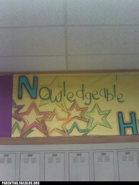 decorations,education,knowledge is laughter,Parenting Fail,poster,school,spelling mistake