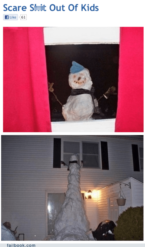 facebook failbook Featured Fail g rated Hall of Fame kids scare second floor snowman window winter time wtf - 5508935680
