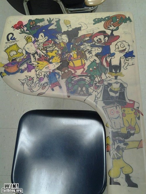 90s cartoons classroom desk doodle g rated Hall of Fame nickelodeon nostalgia pop culture win - 5509090304