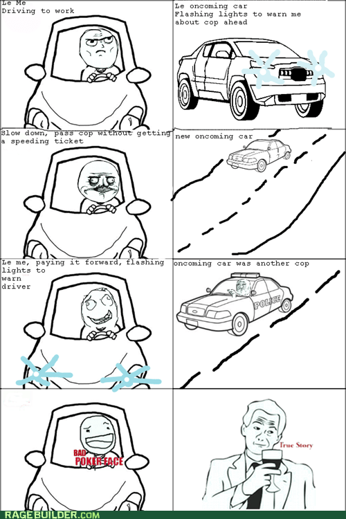 car,driving,flashing lights,me gusta,Rage Comics