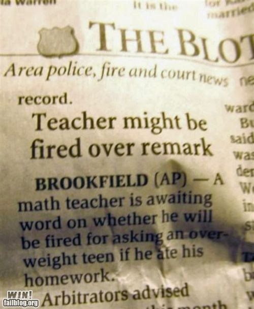 completely relevant news education fat joke fired inappropriate school teacher - 5509403392