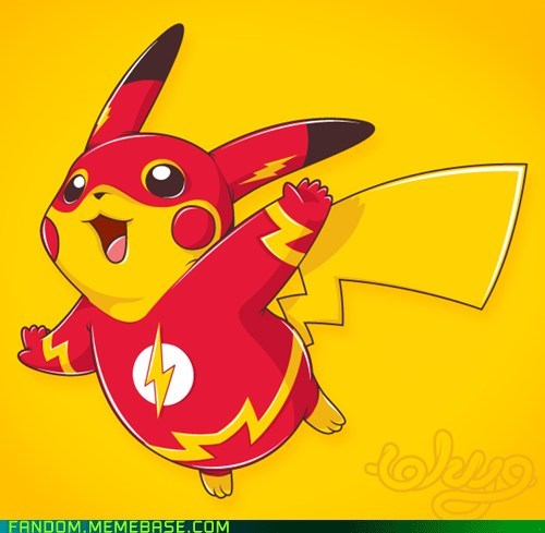 crossover Fan Art pikachu Pokémon the flash - 5509523968