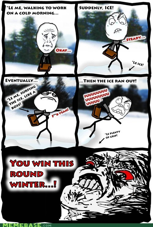 cold ice Rage Comics slip winter - 5509801216