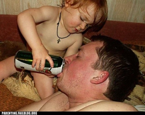 alcohol au naturale baby beer dad drinking Parenting Fail son