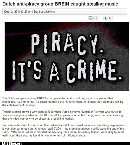 Hypocrisy,irony,piracy,Probably bad News