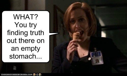 dana scully,eating,gillian anderson,ice cream,stomach,the truth,what,x files
