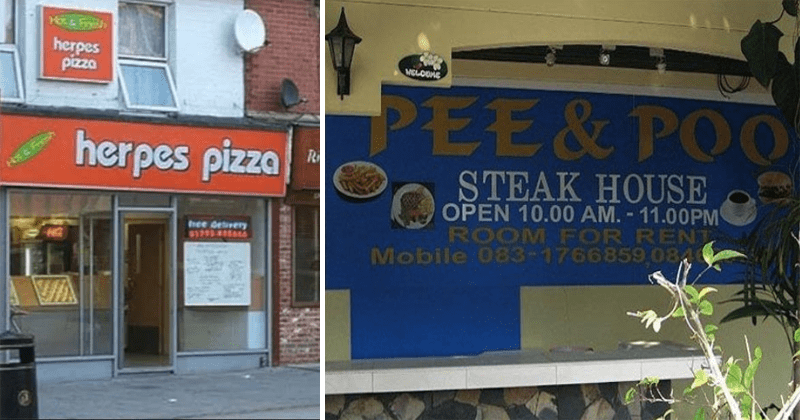 Funny restaurant names, bad restaurant names, restaurant name fails.