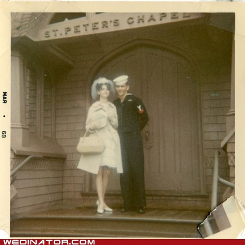 60s,bride,funny wedding photos,groom,Historical,navy,retro,sailor,vintage