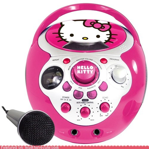 electronics,hello kitty,karaoke,microphone,pink,speakers,stereo