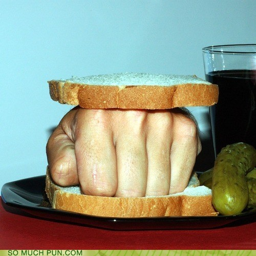 double meaning,idiom,knuckle,knuckle sandwich,literalism,sandwich