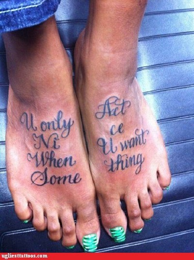 foot tats,words