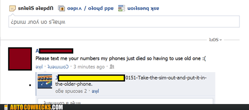 dead phone,facebook,lost numbers,sim,status