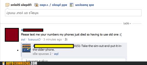 dead phone facebook lost numbers sim status - 5512756736