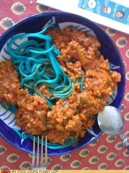 blue,pasta,sauce,smurfs,spaghetti
