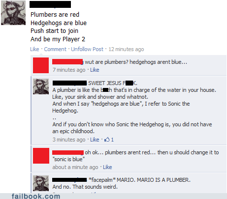 dating facepalm failbook Featured Fail g rated love mario poetry social media sonic video games - 5517187840