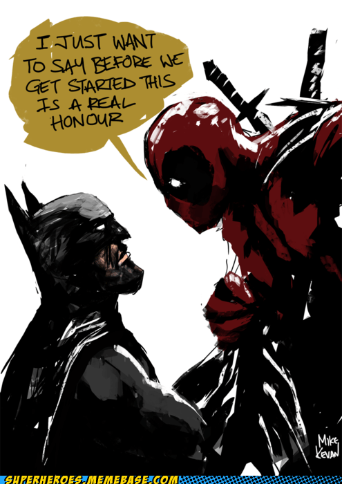 Awesome Art batman deadpool fight wtf - 5517610240