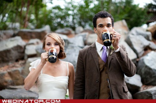 bride,butterbeer,funny wedding photos,groom,Harry Potter