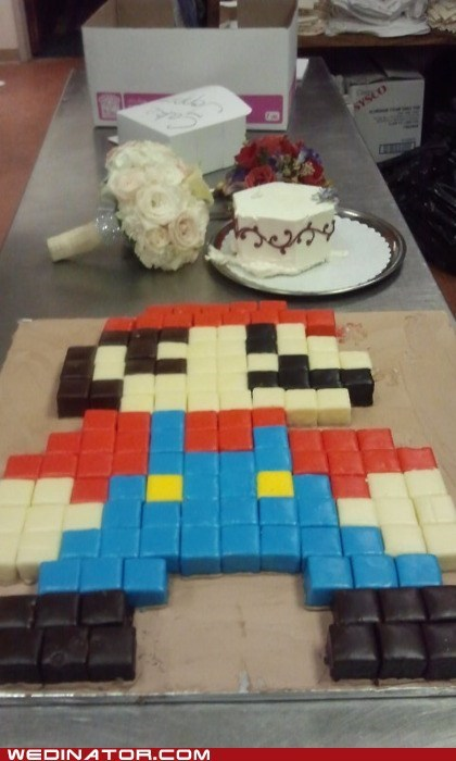 8 bit funny wedding photos geek grooms-cake mario super mario video games