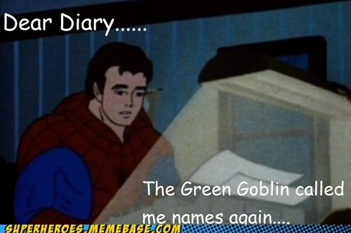 diary,emotional,green goblin,peter parker,Super-Lols
