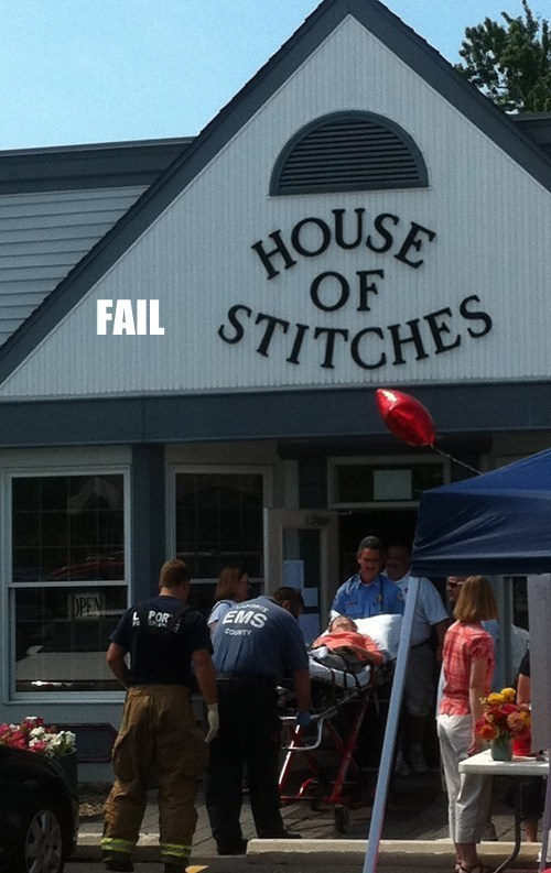 irony,ouch,stitches,store name