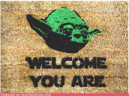 doormat,star wars,stencil,welcome,yoda
