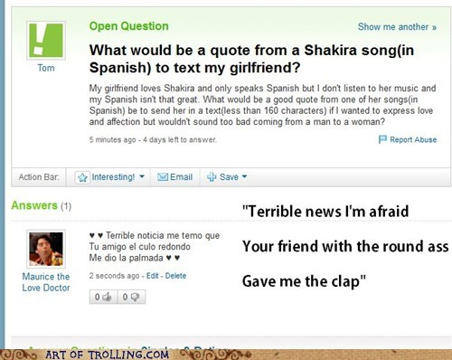lyrics spanish text Yahoo Answer Fails